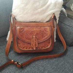 Patricia Nash all leather saddle bag purse.